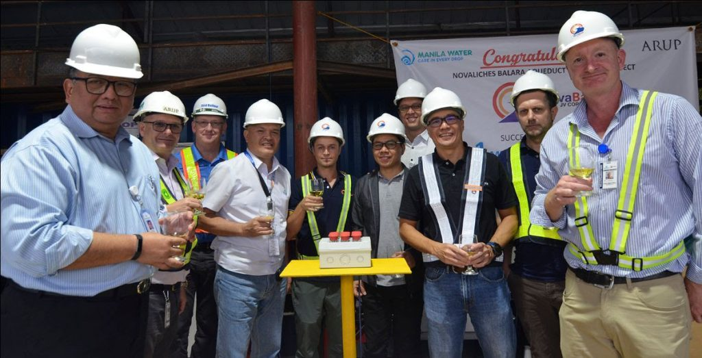 (L-R) Manila Water President and CEO Jose Rene Almendras, Arup Project Manager James Rickard, First Balfour Major Projects Division Head Malcolm Lorimer, Manila Water Sr. Project Manager Allan Patdu, NovaBala JV (NBJV) Tunneling Manager Alessandro Tirabassi, Manila Water Supply Headline Manager Renato Belmonte, Manila Water Corporate Project Management Group Director Robert Baffrey, First Balfour CFO Jonathan Tansengco, CMC di Ravenna Area Manager Cristian Grecco, and NBJV Deputy Project Manager David Steele