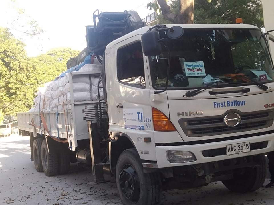 T1 Rentals, First Balfour's Plant and Equipment Division, also deployed boom trucks as logistics support for the distribution of these relief goods to cities in Metro Manila.
