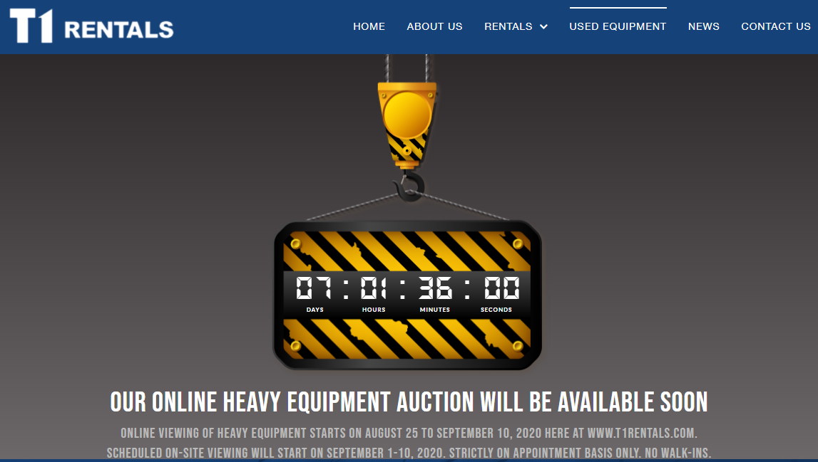 T1 Rentals online heavy equipment auction