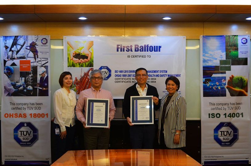 TUV SUD Hands Over ISO 14001 2015 and OHSAS 18001 2007 Certificates to First Balfour