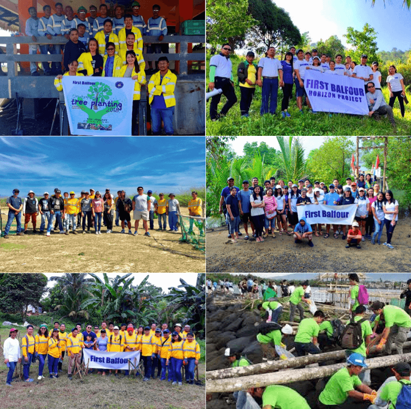 From up north in Ilocos Norte to down south in Leyte, a variety of trees were planted in First Balfour's host communities. The Burgos Overhead Transmission Line project management team (PMT) members planted 224 mahogany, acacia, and coconut trees in Brgy. Bobon in Burgos, Ilocos Norte while the LGBU Various Projects PMT planted 100 molave and narra trees in Brgy. Tagaytay in Kananga, Leyte.